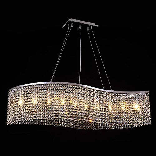7PM Crystal Chandelier Modern Pendant Light Wave Beaded Lampshade Chrome Light Fixture for Dining Room Kitchen