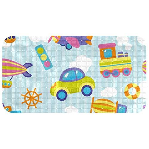ASDFSD Alfombrilla de baño extralarga, antideslizante con ventosas, sin látex, resistente y duradera, lavable a máquina, diseño de coche de juguete