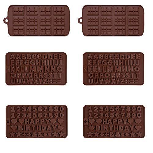 6 stampi in silicone per cioccolatini, mini stampini per cioccolatini, lettere e numeri, in silicone, per decorazioni per torte di compleanno, per la casa e la cucina fai da te (grigio)