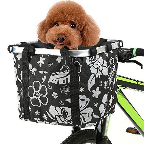 Lixada Cestino Anteriore Bici per Cani Collassabile 36x30x28cm Borsa da Bicicletta Staccabile Durevole Multifunzionale per Ciclismo Shopping Picnic, Carico Massimo: 5kg