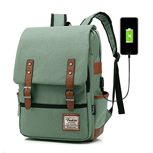 Professional Laptop Backpack with USB Charging Port, FEWOFJ Fashion Travel Bag Vintage Business Work Computer Rucksack College School Casual Daypack for Women Men Girls - Green