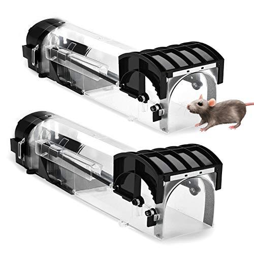 GothicBride Trampas para Ratones Set de 2 Reutilizable Trampa Ratones de Transparente para Interiores y Exteriores Hogar, Ático, Cocina