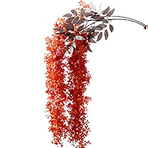 Silk Flower Arrangements BARMI Artificial Flowers,Artificial Lilac Wisteria Flower Plant Wall Hanging Vine Wedding Stage Decor,Make Your Life be Full of Beautiful Vitality, Good Memories Orange Red
