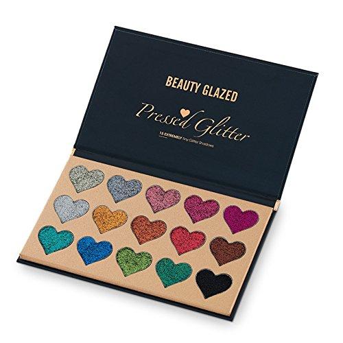 Beauty Glazed 15 Farben Hochpigmentiert Glitzer Lidschatten Palette Herzform Diamond Makeup Schimmer...