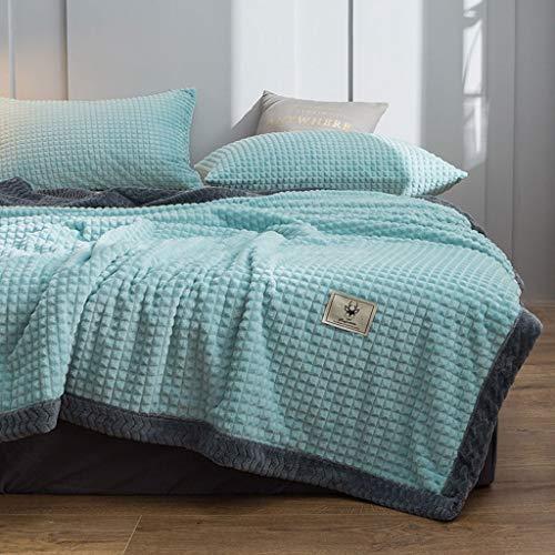 KHJKHJ deken dubbele coral fleece blanket quilt/dikke winter warme melk fluwelen deken/flanel pad sheets 3.17 (kleur: mintgroen, maat: 180x195 cm)