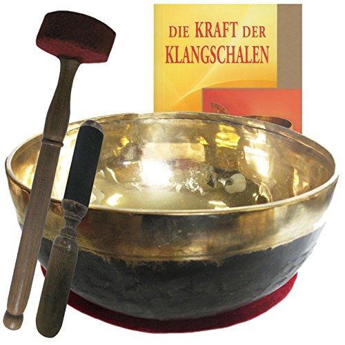 Klangschale Bengali gold-schwarz 5-teiliges Klangmassage-SET mit BUCH. Therapie-Qualität: XXL-BECKENSCHALE ca. 3000-3200g ca. 30-32 cm mit Kissen, Holz-Leder-Reibe- & Therapie-Klöppel. 70157