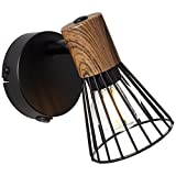 Lightbox Foco de pared con interruptor, 1 bombilla E14 máx. 18 W, metal/madera, color oscuro/negro mate.