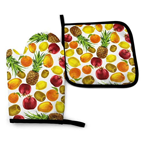 Guantes para microondas Tropical Fruit Oven Mitts and Pot Holders Set Heat Resistant Kitchen Non Slip Oven Gloves for Cooking BBQ Baking Anti Scald Cotton Lining