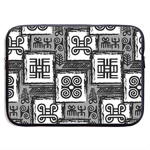 NA Laptoptasche African Adinkra Schwarz Weiß Digital Art Ritual Symbole Bildschirm Handtasche Laptoptasche Kompatibel 13-15 Zoll