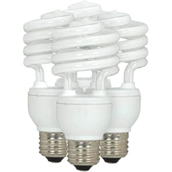 "Amazon.com: Satco S6235 Mini Spiral Compact Fluorescent Bulb, 13W, 120V,  900 Lumens, 2700K, 12000 Rated Hours, Medium Base, 4.13"" MOL, 1.81"" MOD,  Gloss White Finish, Pack of 4: Home & Kitchen"