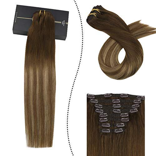 Ugeat 35 cm Double Trame Tissage a Clips Lisse 100% Naturel Full Head Clip in Hair Extensions Brun Chocolat Fading to Brun Moyen et Blond Fonce 100GR/10PCS