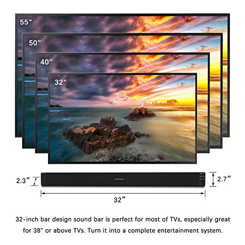 "Sound Bar POPCHOSE 32/"" Sound Bar for TV 30W 2.0 Channel Bluetooth Stereo IR"