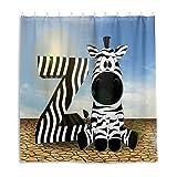 Badezimmer Duschvorhang Buchstaben Z Abc Bildung Zebra Duschvorhänge Durable Stoff Badvorhang Wasserdicht Badezimmer Vorhang mit 12 Haken