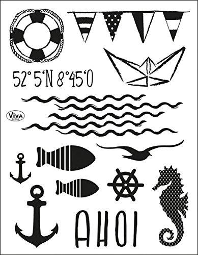 Viva Decor®️ Clear-Stamps (AHOI) Silikon Stempel - Prägung Stempel - DIY Dekoration stanzen - Stempel Silikon - DIY Stamp - Stempel Prägung - Made in Germany