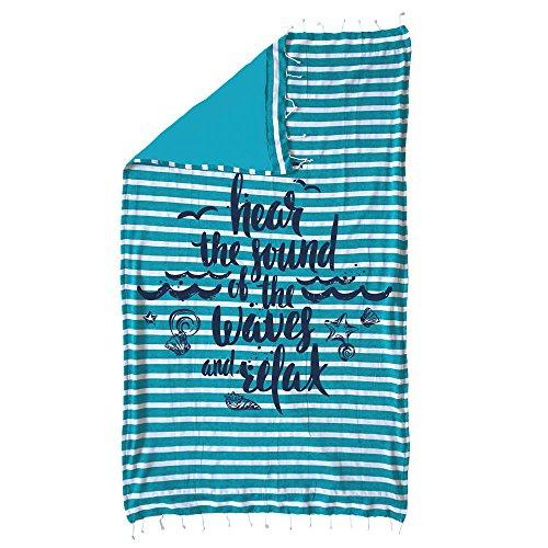 Relax Pareo Strandtuch mit Fransen aus Baumwolle, Türkis, 150 x 100 cm