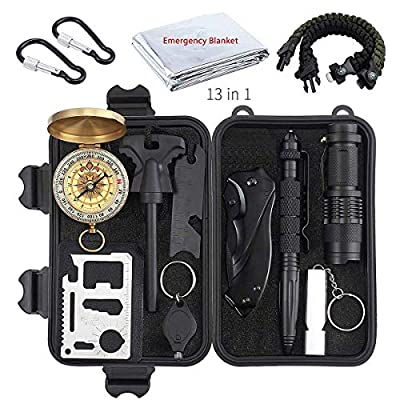 Justech Emergency Survival Kit Outdoor Survival Gear Kit Survival Tool with Thermal Blanket Carabiner Bracelet Fire Starter More for Adventure Outdoors Sports Traveling Hiking from Justech