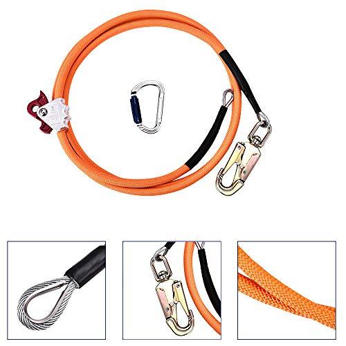 TOPQSC Stahlkern Lanyard 16mm*3.6m Stahldrahtkern Flip Line Kits Outdoor Kletterseil Ausrüstung mit Triple Lock Karabinereinsteller für Fallschutz Baumpfleger Baumkletterer