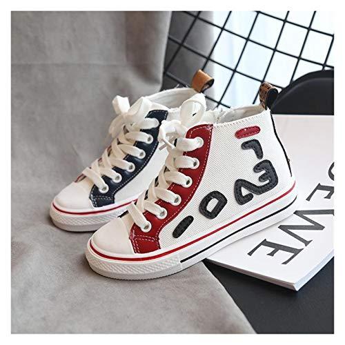 Youpin Zapatillas de lona para niños y niñas, suela suave, casual, zapatillas de deporte para niños, chaussure Enfant (color: blanco, talla de zapato: 21)