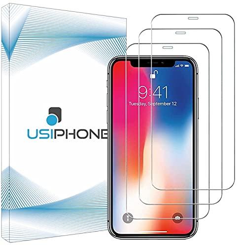 """UsiPhone Lot de 3 Verre Trempé Compatible avec Iphone X/XS - Vitre Iphone 11 Pro - Film Ecran en Verre Trempe 9h - Protection Iphone X/XS - Protege Écran Iphone 11 Pro (5.8"""") Ecran Incassable"""