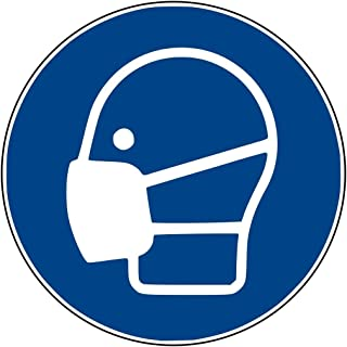 Aufkleber Gebotsschild GebotszeichenMaske benutzen Folie ISO 7010 Durchmesser5-30cm blau made by MBS-SIGNS in Germany, Größe: Durchmesser10 cm Mundschutz Schutzmaske benutzen