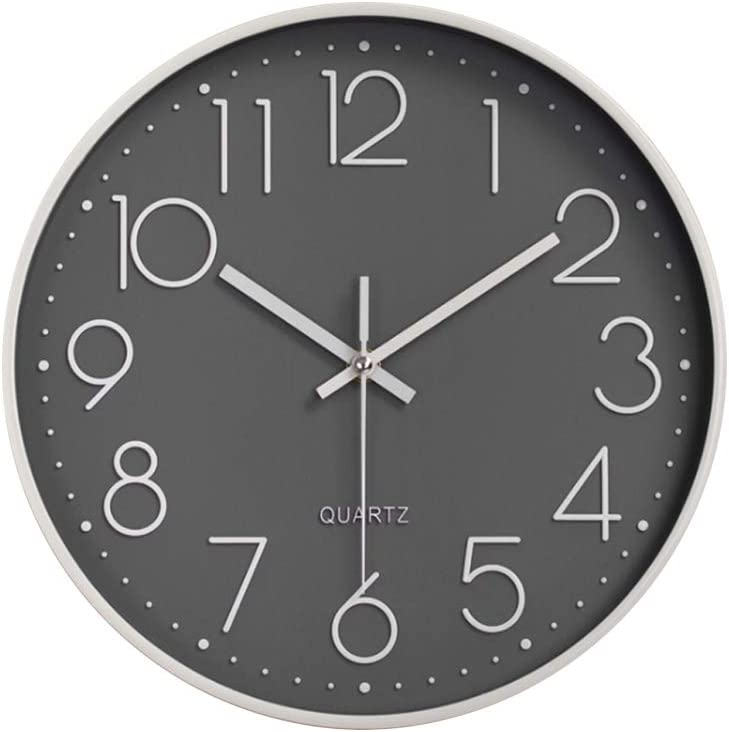 Preciser Modern Wall Clock Silent 12 Inch Unique Wall Clock Kitchen Clocks Wall Battery Operated for Bedroom Living Room Office Black and Rose Gold