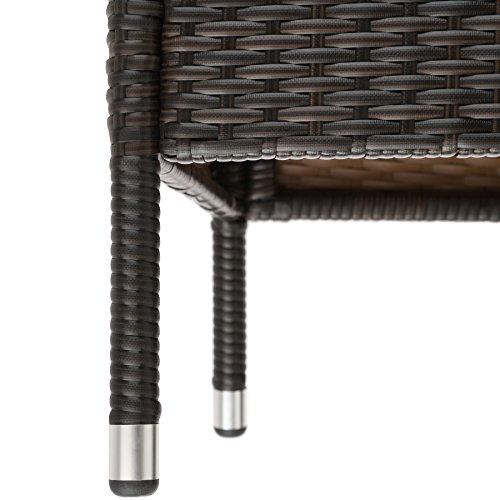 TecTake Sitzbank mit Tisch Poly Rattan Gartenbank Gartensofa inkl. Sitzkissen – diverse Farben – (Schwarz-Braun | Nr. 401548) - 6