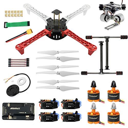 QWinOut 450mm DIY Quadcopter Frame Kit 920KV CW CCW Motors + 9433 Propellers + 30A ESC + APM 2.8 Flight Controller + GPS Compass (Combo E)