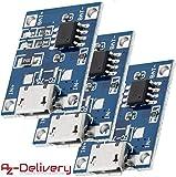 AZDelivery 3 x TP4056 Mini USB 5V 1A Controlador de carga de litio Li - Ion Battery Charger Module con E-book incluido!