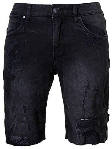 SHINE Original Herren Drop Crotch Denim Jeans Shorts 2-55045 mit Stretchanteilen Vintage Used Destroyed Look Capri Kurze Hose zerissen dehnbar Sweatpants, Grösse:M;Farbe:Schwarz