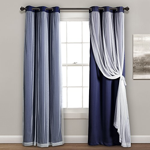 """Lush Decor Sheer Grommet Panel with Insulated Blackout Lining, Room Darkening Window Curtain Set (Pair), 84"""" L, Navy"""