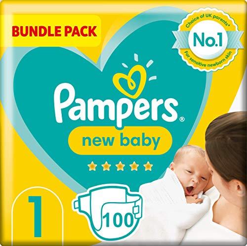 Pampers Tamaño de bebé 1, 2 x 50 pañales, 2 kg-5 kg, caja mensual
