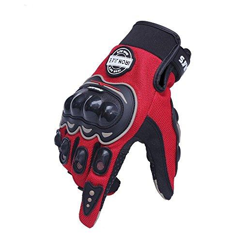 Luvas de motocicleta vermelhas curtas esportivas couro verão para tela sensível ao toque (G)