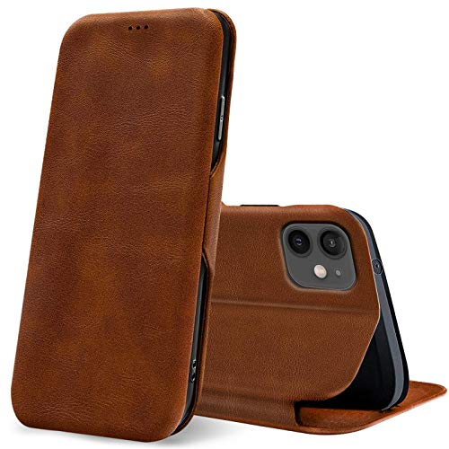 Verco Handyhülle für iPhone 12 Mini, Bookstyle Premium Handy Flip Cover für Apple iPhone 12 Mini Hülle [5,4 Zoll] [integr. Magnet] Book Hülle PU Leder Tasche, Braun