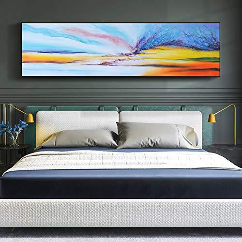 WSNDGWS Pintura de cabecera, Sala de Estar, decoración de la Pared, Pintura de Lienzo, sin Marco D3 40x150 cm