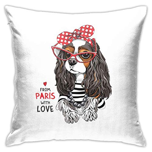 jhgfd7523 Throw Pillow Cover Cavalier King Charles Spaniel Decorative Pillow Case Home Decor Square 18x18 Inches Pillowcase