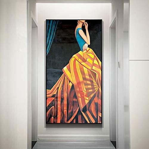 Pintura Interior, Patrón De Arte Abstracto Posmoderno, Marco PS, Lienzo Grueso, Proceso De Micro-pulverización De Alta Definición, 50 * 100 Cm