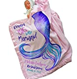 Personalized Mermaid Tail Baby Blanket ( 30x40, Pink ) Satin Trim Baby Bedding for New Baby Room Nursery Newborn