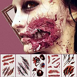 KESOTE 24 Sheets 3D Halloween Face Body Temporary Tattoos Stickers, Waterproof Zombie Scar Flake Blood Scare Tattoos