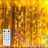 2M X 2M Cortina de luces, Cadena de Luces con PILAS Luces de Hadas de Ventana Luces de Cuerdas de Carámbano con Función de Ritmo Musical Decoración de Navidad, Festival,Fiestas, Casa(Blanco Cálido)