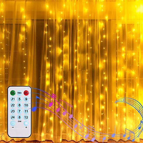 2M X 2M Lichtervorhang LED Lichterkette Vorhang Innen Batterienbetrieben Wasserfall Lichterketten Vorhang Warmweiß Fernbedienung Sound Aktivierte Musik Sync Light für Balkon Garten Außen