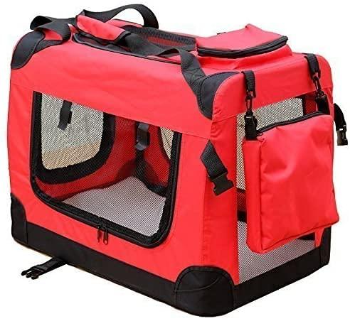 Andreas Dell Hundetransportbox Hundetasche Hundebox Faltbare Kleintiertasche (Rot, (L) 70x50x52 cm)