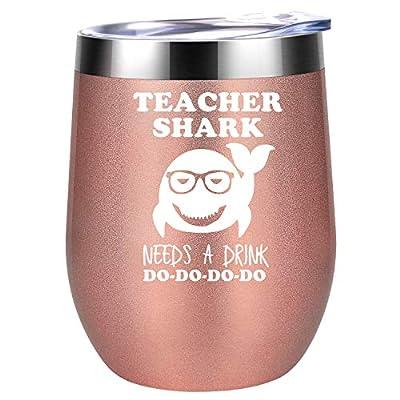 Teacher Gifts - Teacher Appreciation Gifts for Women - Teacher Shark Needs a Drink - Funny Back to School, Thank You, Birthday Gifts for Teachers, Gym Teacher - Coolife Teacher Wine Tumbler Mug Cup