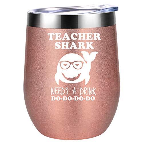 Teacher Appreciation Gifts for Women - Teacher Shark Needs a Drink - Funny Gifts for Teachers, Best Teacher Gifts Ideas - Thank You, Graduation Gifts for Teacher - Coolife Wine Tumbler Teacher Mug Cup