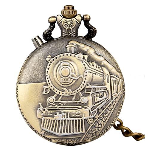 Reloj De Bolsillo De Cuarzo - Led Flash Luminoso Vintage Dial Reloj De Bolsillo De Cuarzo Cadena Bronce Tallado Tren De Vapor Steampunk Motor Railway Reloj Retro Hora, Tren De Bronce, Cadena Grues