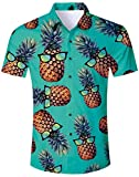 Camisa con Estampado Floral de los Hombres Camisa con Estampado de Flores Camisa de Playa para Vacaciones de natación Estilo Hawaiano de Manga Corta