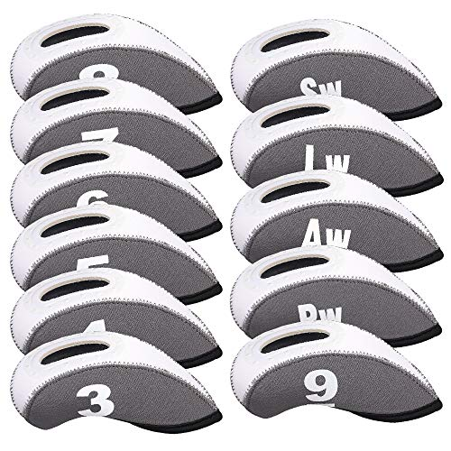Big Teeth Golf Iron Head Covers 11Pcs Neoprene Golf Club Protector Flexible with Window and Number Tag Multi Color (Grey)