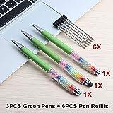 Bolígrafos 9Pcs / Lot Diamond Touch PenMaterial Escolar Oficina Bolígrafos Lápices Escritura Bolígrafos -9Pcs_Green_Set
