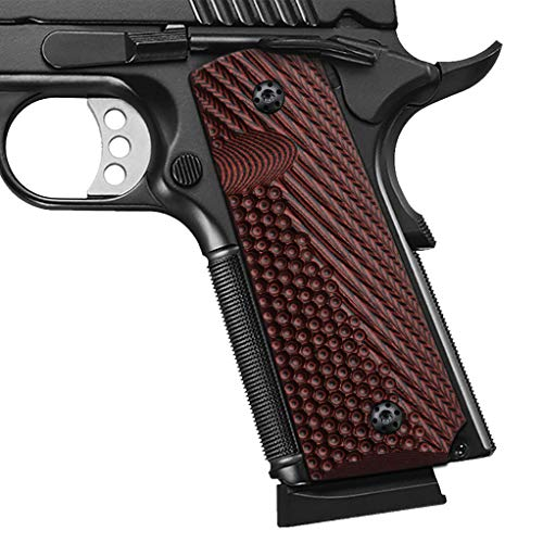 Cool Hand 1911 G10 Grips, Full Size (Government/Commander), Free Screws Included, Mag Release, Ambi Safety Cut, New Generation OPS Texture, Cherry, H1-JV-6