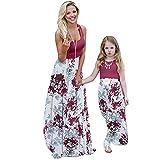 Vestido largo de verano para madre e hija, cuello redondo, sin mangas, línea A, vestido de playa, vestido de fiesta, una variedad de estilos, de punto, borgoña, 1-2 Años