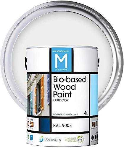 Holz-Farbe   Bio-based Wood Paint   Signalweiß   4 L   RAL 9003   Ökologische Farbe Für alle Arten von Holz   Holz im Außenbereich Farbe mit halb fertig aussehen warm und seidenmatt